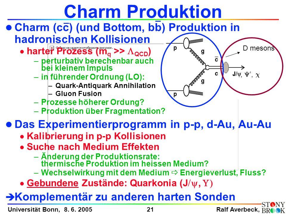 Ralf Averbeck, 21 Universität Bonn, 8. 6. 2005 l Charm (cc) (und Bottom, bb) Produktion in hadronischen Kollisionen harter Prozess (m q >> QCD ) –pert