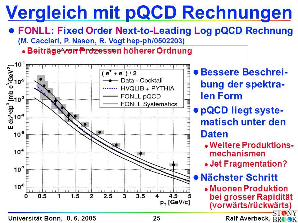 Ralf Averbeck, 25 Universität Bonn, 8. 6. 2005 Vergleich mit pQCD Rechnungen l FONLL: Fixed Order Next-to-Leading Log pQCD Rechnung (M. Cacciari, P. N