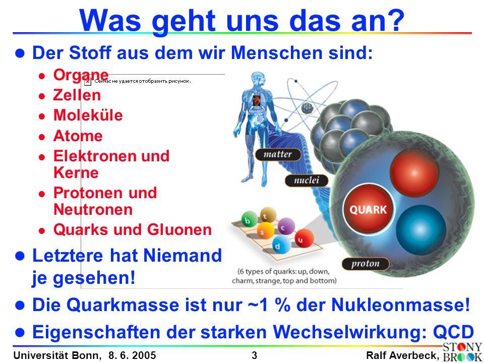 Ralf Averbeck, 3 Universität Bonn, 8. 6. 2005 Was geht uns das an? l Der Stoff aus dem wir Menschen sind: l Organe l Zellen l Moleküle l Atome l Elekt