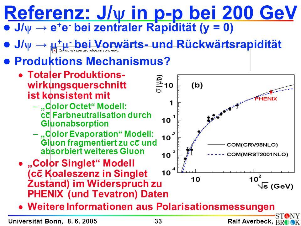Ralf Averbeck, 33 Universität Bonn, 8. 6. 2005 J/ e + e - bei zentraler Rapidität (y = 0) J/ + - bei Vorwärts- und Rückwärtsrapidität l Produktions Me
