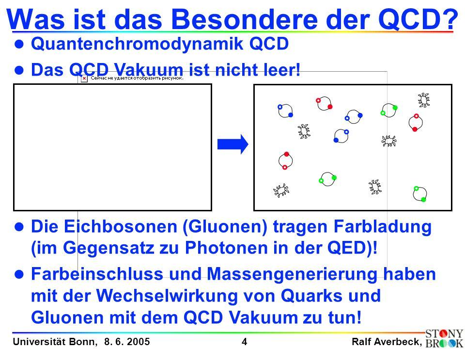 Ralf Averbeck, 4 Universität Bonn, 8. 6. 2005 Was ist das Besondere der QCD? l Quantenchromodynamik QCD l Das QCD Vakuum ist nicht leer! l Die Eichbos