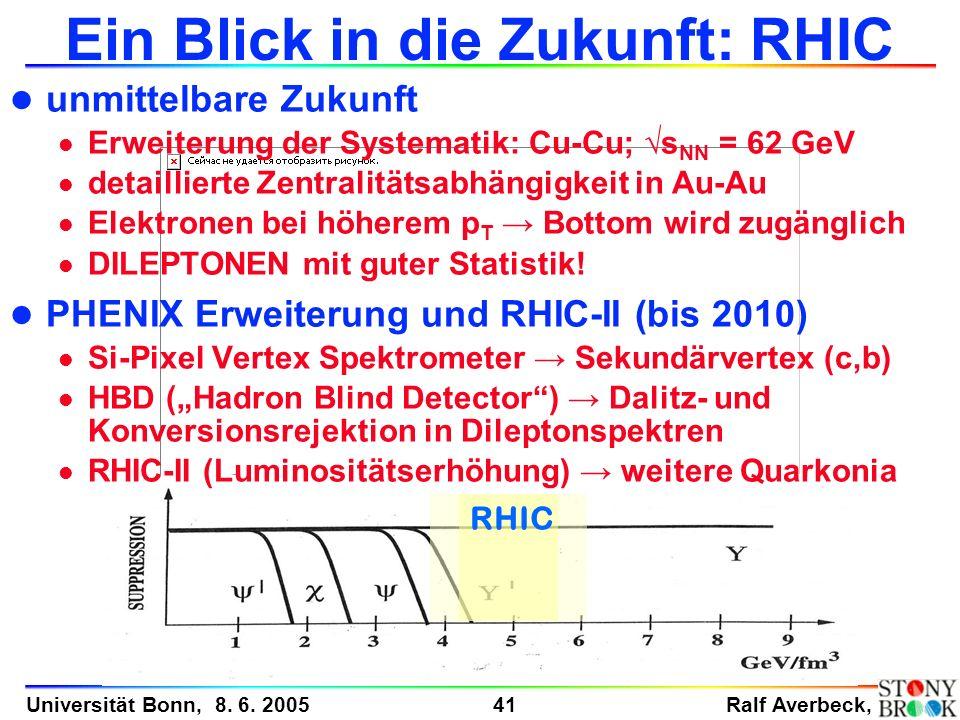 Ralf Averbeck, 41 Universität Bonn, 8. 6. 2005 RHIC Ein Blick in die Zukunft: RHIC l unmittelbare Zukunft l Erweiterung der Systematik: Cu-Cu; s NN =