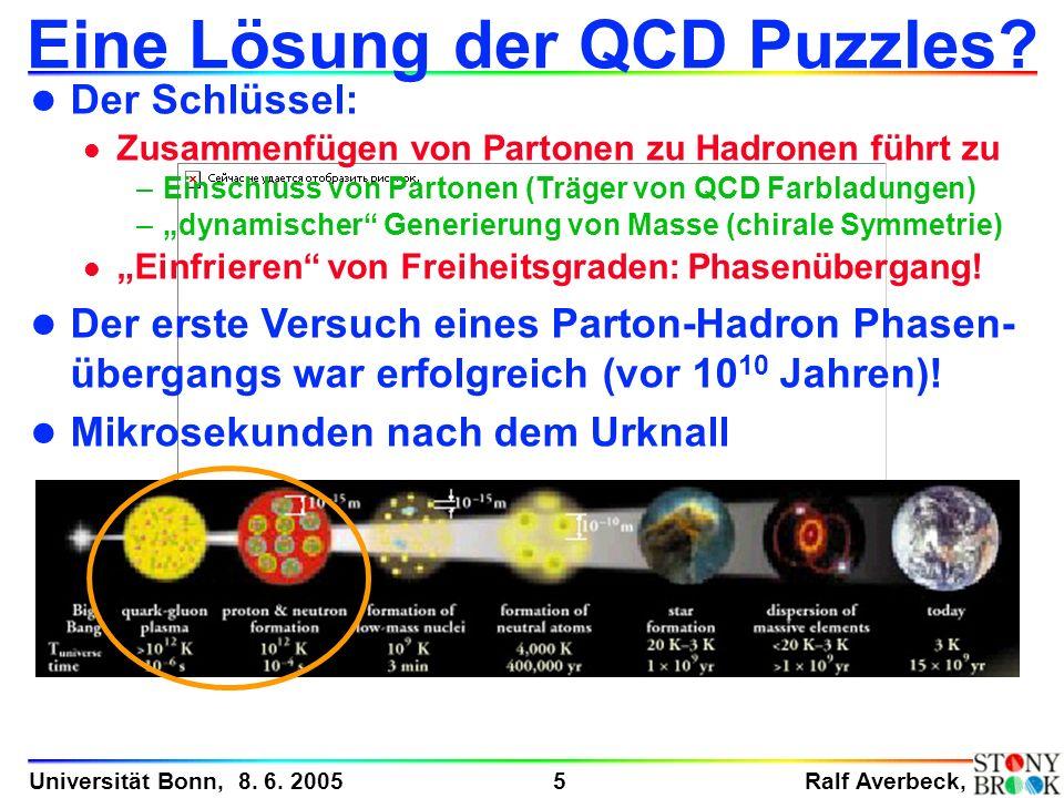 Ralf Averbeck, 5 Universität Bonn, 8. 6. 2005 Eine Lösung der QCD Puzzles? l Der Schlüssel: l Zusammenfügen von Partonen zu Hadronen führt zu –Einschl