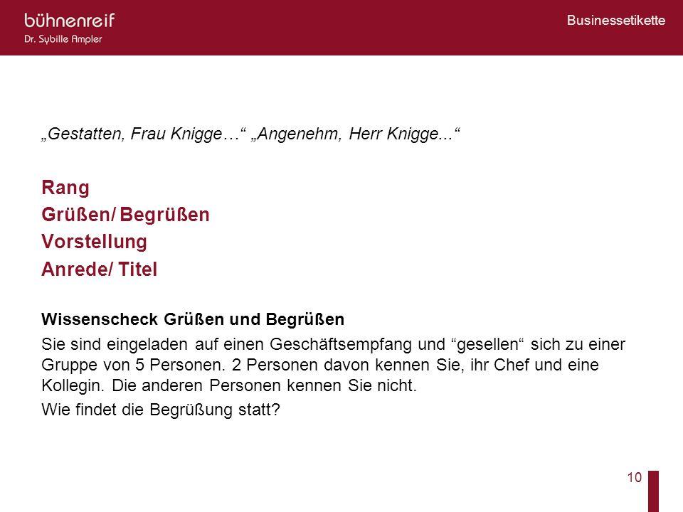Businessetikette 10 Gestatten, Frau Knigge… Angenehm, Herr Knigge... Rang Grüßen/ Begrüßen Vorstellung Anrede/ Titel Wissenscheck Grüßen und Begrüßen