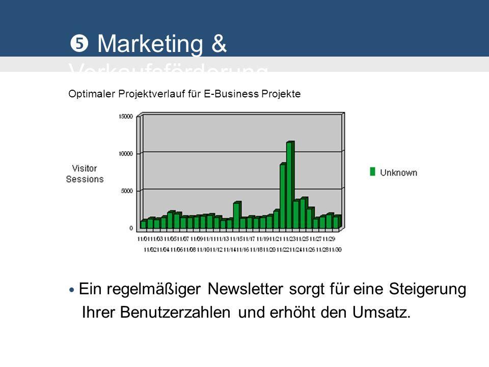 Marketing & Verkaufsförderung Optimaler Projektverlauf für E-Business Projekte Ein regelmäßiger Newsletter sorgt für eine Steigerung Ihrer Benutzerzahlen und erhöht den Umsatz.
