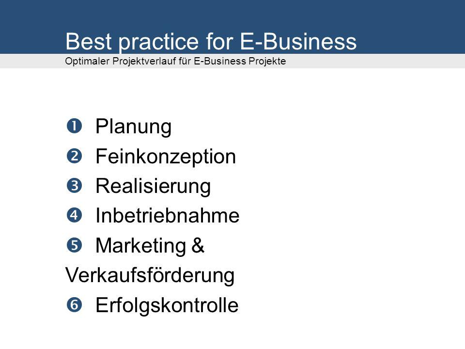 Planung Feinkonzeption Realisierung Inbetriebnahme Marketing & Verkaufsförderung Erfolgskontrolle Best practice for E-Business Optimaler Projektverlauf für E-Business Projekte
