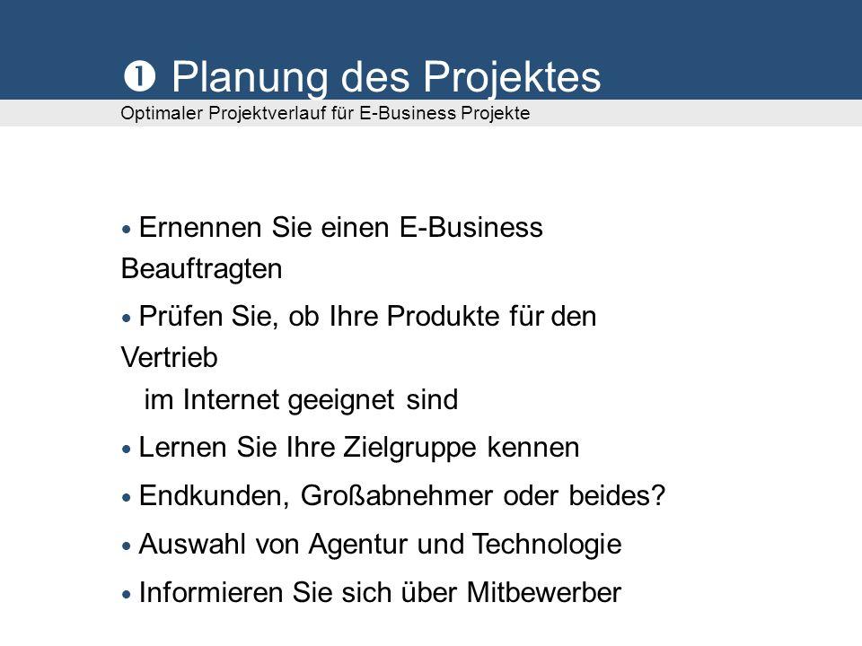 Planung des Projektes Optimaler Projektverlauf für E-Business Projekte Ernennen Sie einen E-Business Beauftragten Prüfen Sie, ob Ihre Produkte für den