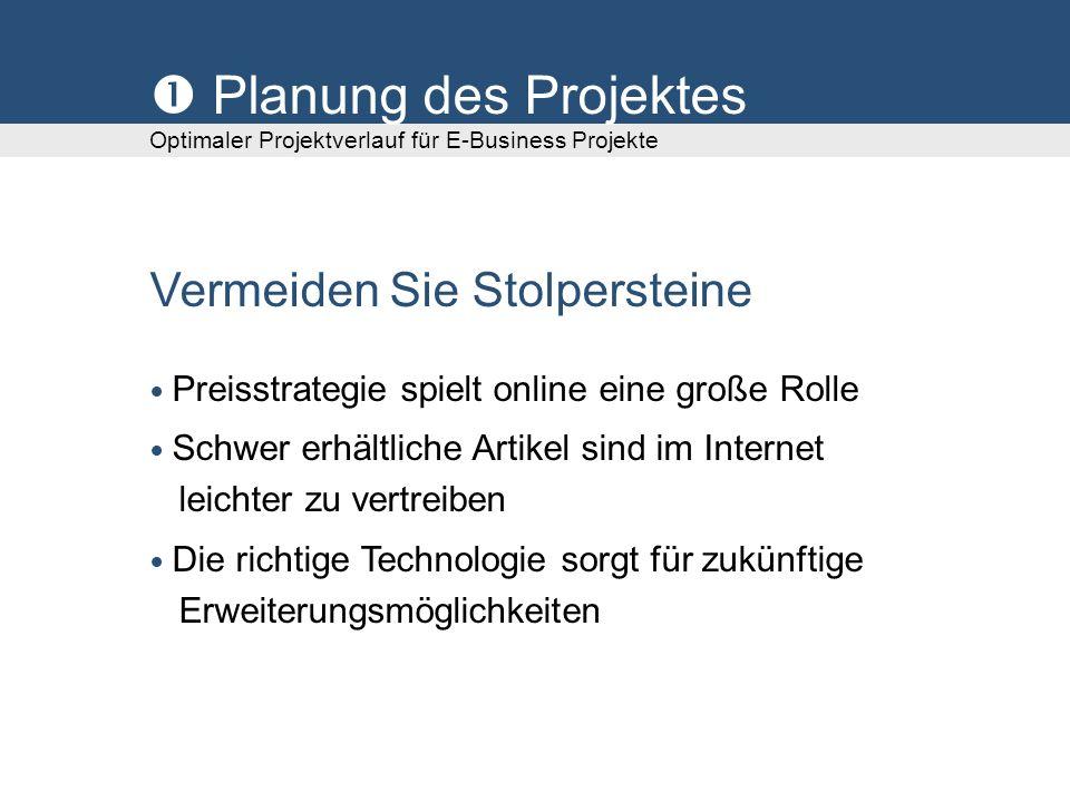 Planung des Projektes Optimaler Projektverlauf für E-Business Projekte Vermeiden Sie Stolpersteine Preisstrategie spielt online eine große Rolle Schwe
