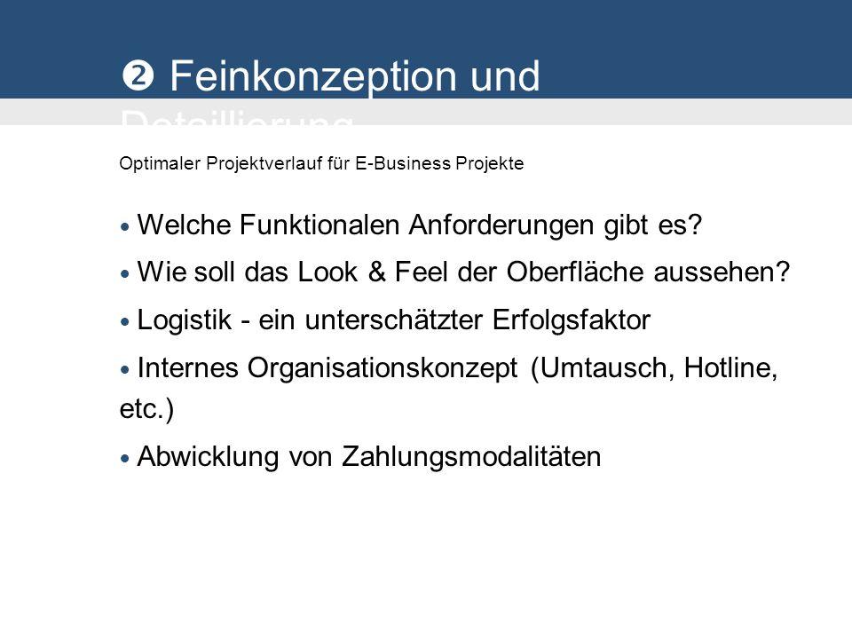 Feinkonzeption und Detaillierung Optimaler Projektverlauf für E-Business Projekte Welche Funktionalen Anforderungen gibt es? Wie soll das Look & Feel