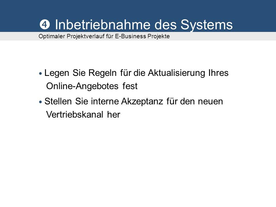Inbetriebnahme des Systems Optimaler Projektverlauf für E-Business Projekte Legen Sie Regeln für die Aktualisierung Ihres Online-Angebotes fest Stellen Sie interne Akzeptanz für den neuen Vertriebskanal her