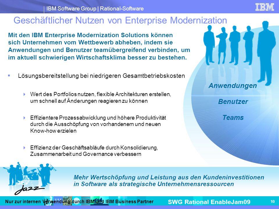 IBM Software Group | Rational-Software SWG Rational EnableJam09 Nur zur internen Verwendung durch IBM und IBM Business Partner 10 Geschäftlicher Nutzen von Enterprise Modernization Lösungsbereitstellung bei niedrigeren Gesamtbetriebskosten Wert des Portfolios nutzen, flexible Architekturen erstellen, um schnell auf Änderungen reagieren zu können Effizientere Prozessabwicklung und höhere Produktivität durch die Ausschöpfung von vorhandenem und neuen Know-how erzielen Effizienz der Geschäftsabläufe durch Konsolidierung, Zusammenarbeit und Governance verbessern Mehr Wertschöpfung und Leistung aus den Kundeninvestitionen in Software als strategische Unternehmensressourcen Anwendungen Benutzer Teams Mit den IBM Enterprise Modernization Solutions können sich Unternehmen vom Wettbewerb abheben, indem sie Anwendungen und Benutzer teamübergreifend verbinden, um im aktuell schwierigen Wirtschaftsklima besser zu bestehen.