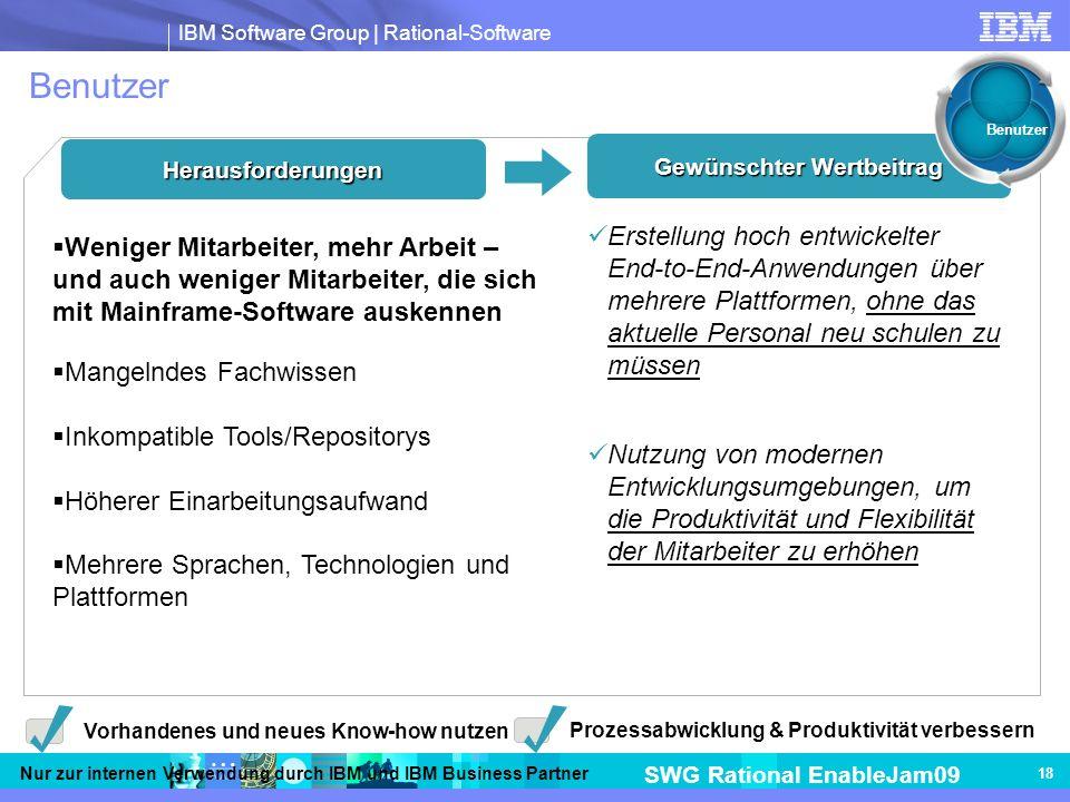 IBM Software Group | Rational-Software SWG Rational EnableJam09 Nur zur internen Verwendung durch IBM und IBM Business Partner 18 Benutzer Herausforderungen Gewünschter Wertbeitrag Erstellung hoch entwickelter End-to-End-Anwendungen über mehrere Plattformen, ohne das aktuelle Personal neu schulen zu müssen Nutzung von modernen Entwicklungsumgebungen, um die Produktivität und Flexibilität der Mitarbeiter zu erhöhen Vorhandenes und neues Know-how nutzen Prozessabwicklung & Produktivität verbessern Weniger Mitarbeiter, mehr Arbeit – und auch weniger Mitarbeiter, die sich mit Mainframe-Software auskennen Mangelndes Fachwissen Inkompatible Tools/Repositorys Höherer Einarbeitungsaufwand Mehrere Sprachen, Technologien und Plattformen Benutzer