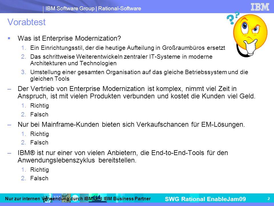 IBM Software Group | Rational-Software SWG Rational EnableJam09 Nur zur internen Verwendung durch IBM und IBM Business Partner 2 Vorabtest Was ist Enterprise Modernization.