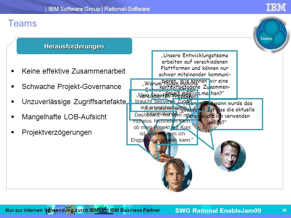 IBM Software Group | Rational-Software SWG Rational EnableJam09 Nur zur internen Verwendung durch IBM und IBM Business Partner 20 Teams Herausforderungen Keine effektive Zusammenarbeit Schwache Projekt-Governance Unzuverlässige Zugriffsartefakte Mangelhafte LOB-Aufsicht Projektverzögerungen Unsere Entwicklungsteams arbeiten auf verschiedenen Plattformen und können nur schwer miteinander kommuni- zieren.