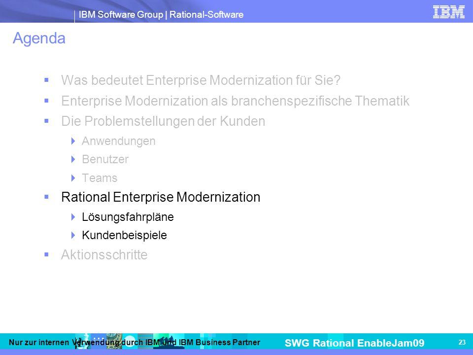 IBM Software Group | Rational-Software SWG Rational EnableJam09 Nur zur internen Verwendung durch IBM und IBM Business Partner 23 Agenda Was bedeutet Enterprise Modernization für Sie.
