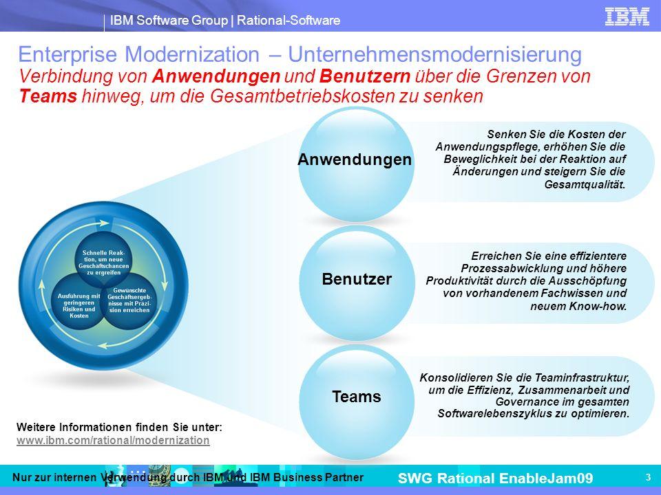 IBM Software Group | Rational-Software SWG Rational EnableJam09 Nur zur internen Verwendung durch IBM und IBM Business Partner 3 Weitere Informationen finden Sie unter: www.ibm.com/rational/modernization Enterprise Modernization – Unternehmensmodernisierung Verbindung von Anwendungen und Benutzern über die Grenzen von Teams hinweg, um die Gesamtbetriebskosten zu senken Erreichen Sie eine effizientere Prozessabwicklung und höhere Produktivität durch die Ausschöpfung von vorhandenem Fachwissen und neuem Know-how.