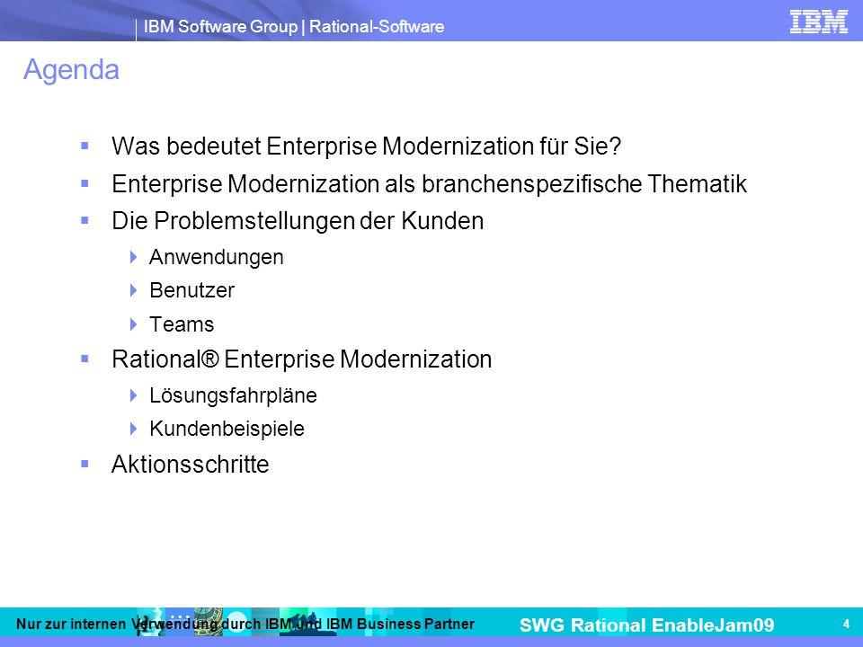 IBM Software Group | Rational-Software SWG Rational EnableJam09 Nur zur internen Verwendung durch IBM und IBM Business Partner 4 Agenda Was bedeutet Enterprise Modernization für Sie.