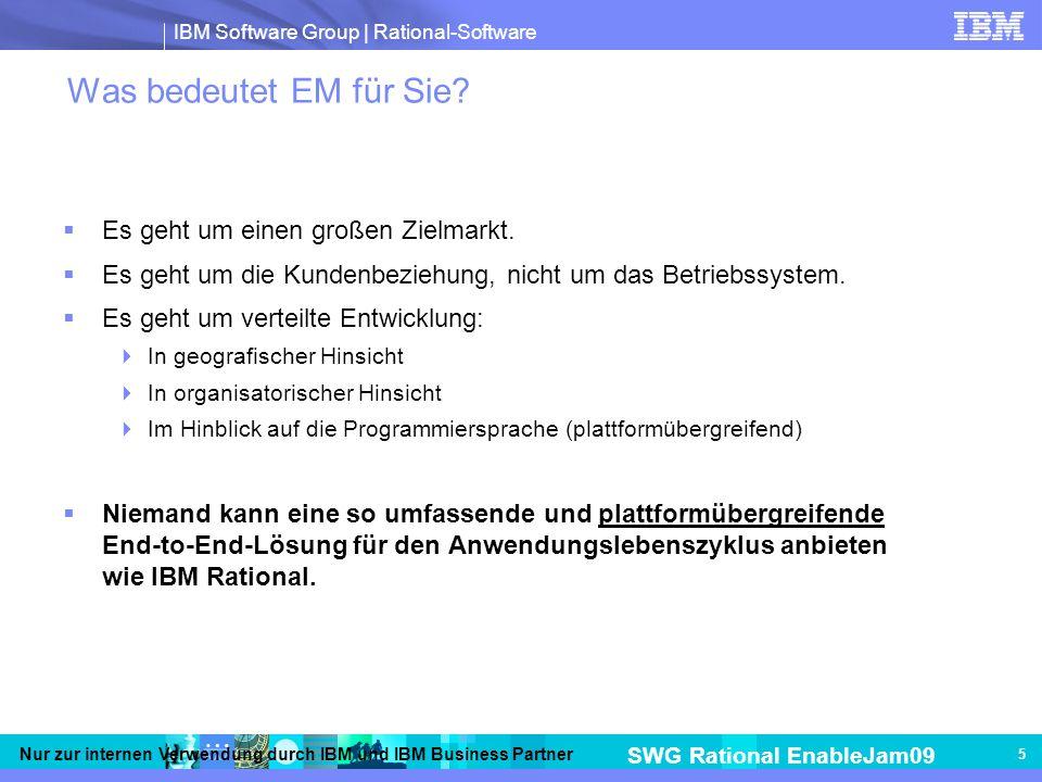IBM Software Group | Rational-Software SWG Rational EnableJam09 Nur zur internen Verwendung durch IBM und IBM Business Partner 5 Was bedeutet EM für Sie.