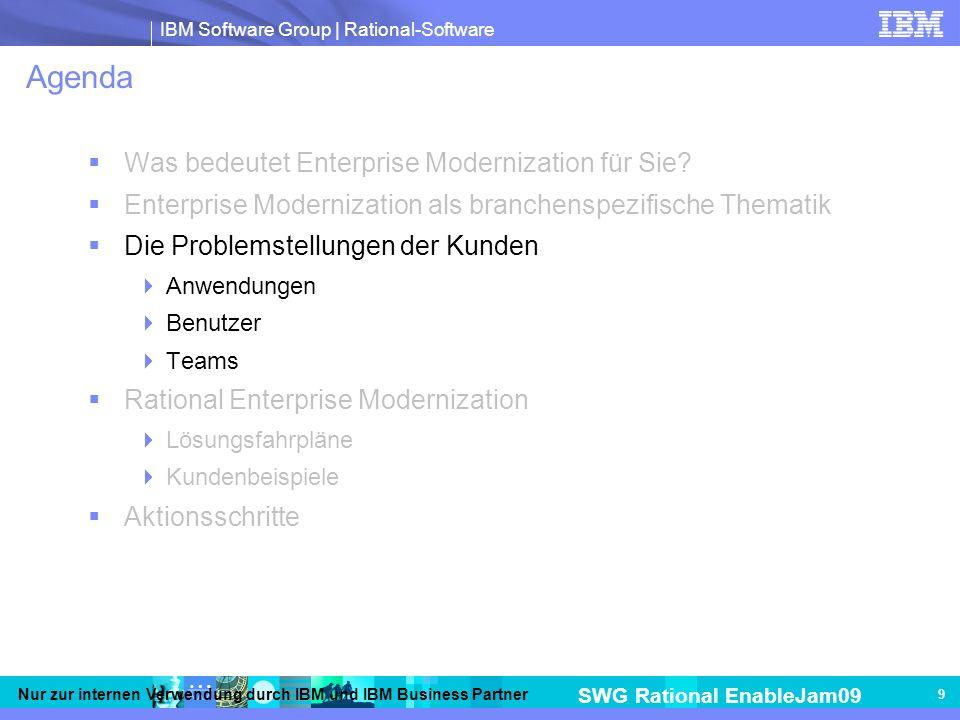 IBM Software Group | Rational-Software SWG Rational EnableJam09 Nur zur internen Verwendung durch IBM und IBM Business Partner 9 Agenda Was bedeutet Enterprise Modernization für Sie.