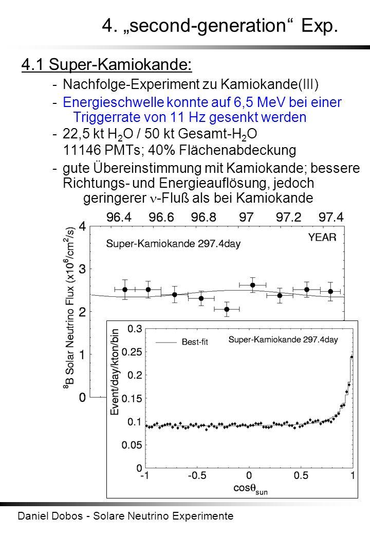 Daniel Dobos - Solare Neutrino Experimente 4. second-generation Exp. 4.1 Super-Kamiokande: -Nachfolge-Experiment zu Kamiokande(III) -Energieschwelle k