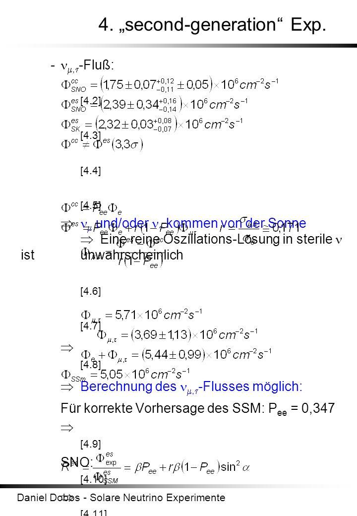 Daniel Dobos - Solare Neutrino Experimente 4. second-generation Exp. -, -Fluß: [4.2] [4.3] [4.4] [4.5] und/oder kommen von der Sonne Eine reine Oszill