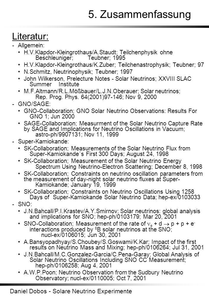 Daniel Dobos - Solare Neutrino Experimente 5. Zusammenfassung Literatur: - Allgemein: H.V.Klapdor-Kleingrothaus/A.Staudt; Teilchenphysik ohne Beschleu