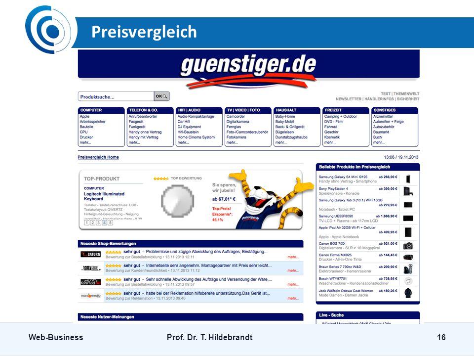 Preisvergleich Web-BusinessProf. Dr. T. Hildebrandt16