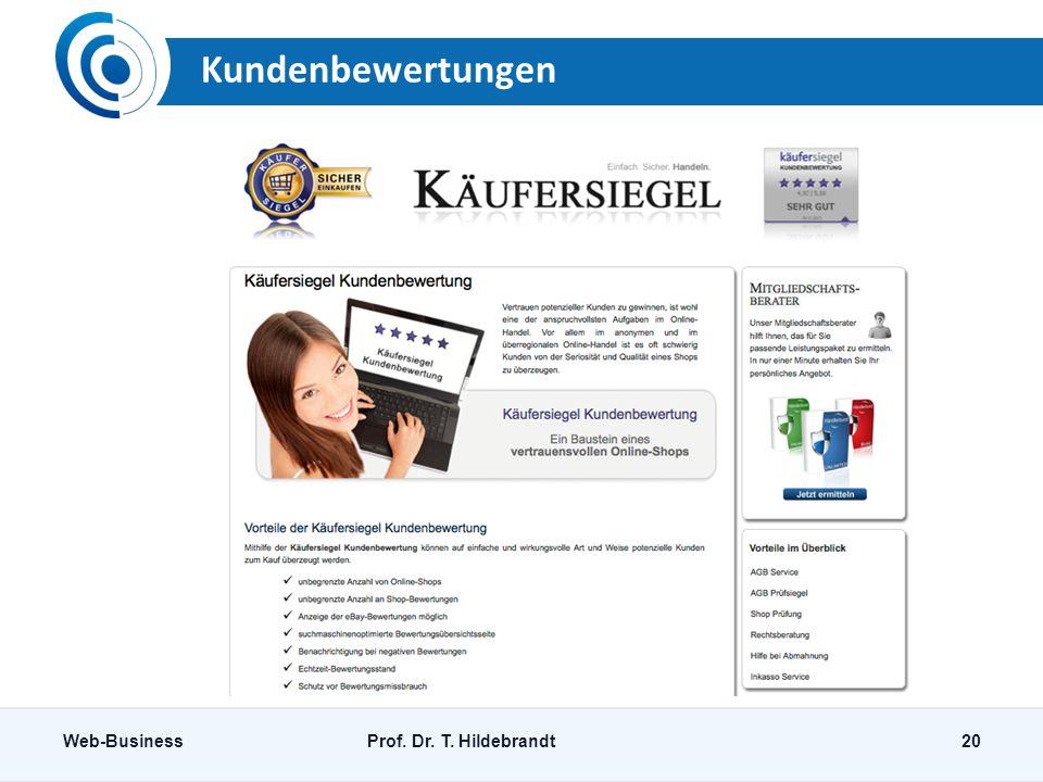 Kundenbewertungen Web-BusinessProf. Dr. T. Hildebrandt20