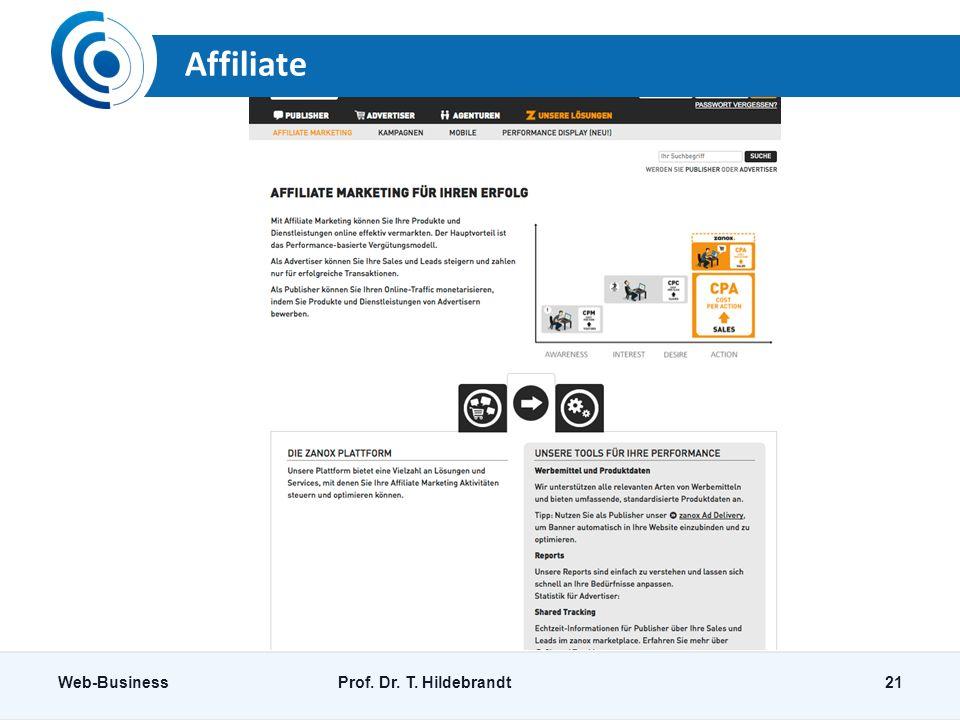 Affiliate Web-BusinessProf. Dr. T. Hildebrandt21