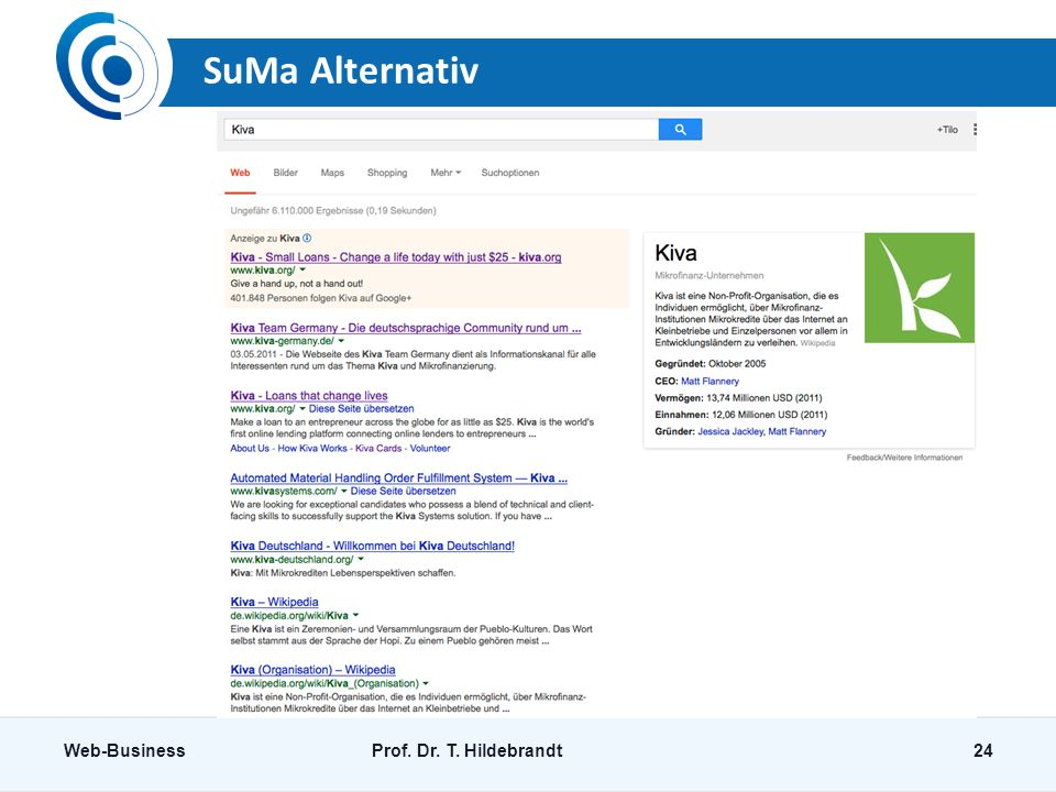 SuMa Alternativ Web-BusinessProf. Dr. T. Hildebrandt24