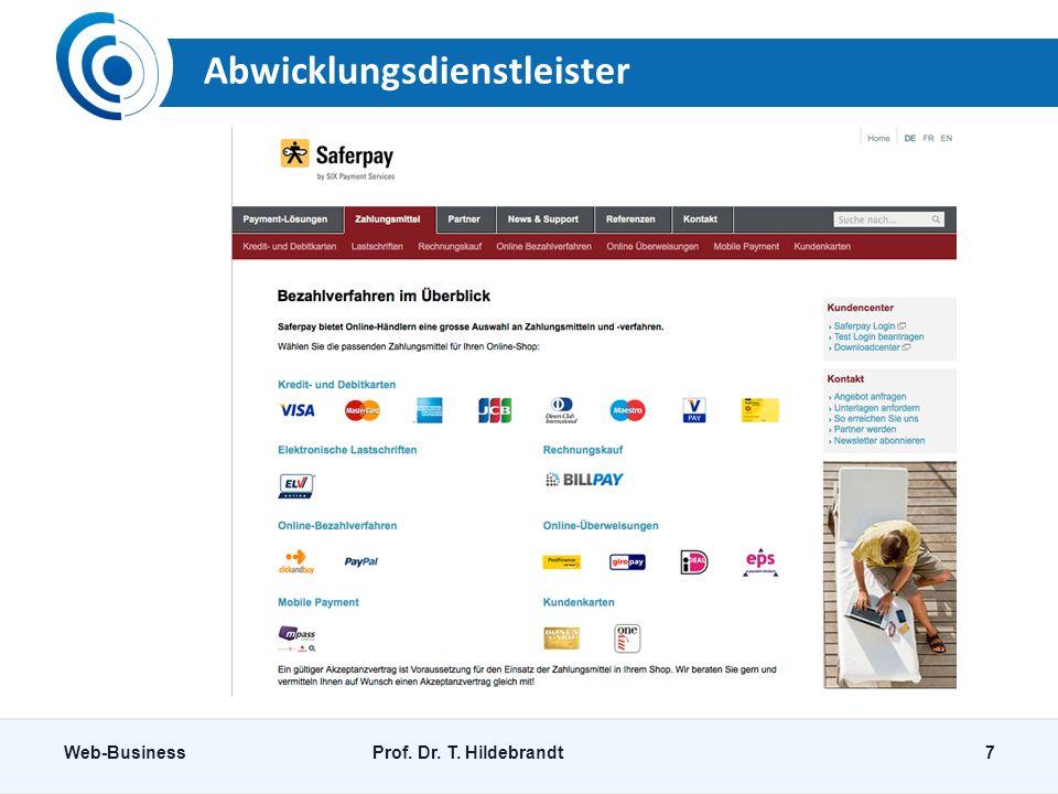 Abwicklungsdienstleister Web-BusinessProf. Dr. T. Hildebrandt7