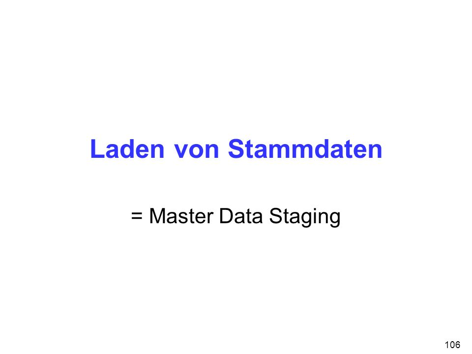 106 Laden von Stammdaten = Master Data Staging