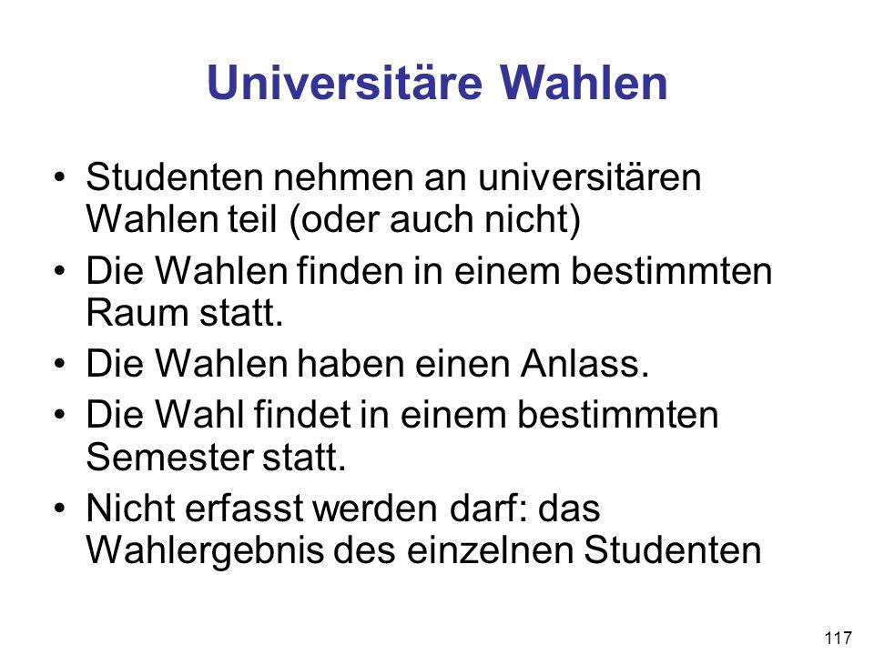 117 Universitäre Wahlen Studenten nehmen an universitären Wahlen teil (oder auch nicht) Die Wahlen finden in einem bestimmten Raum statt. Die Wahlen h