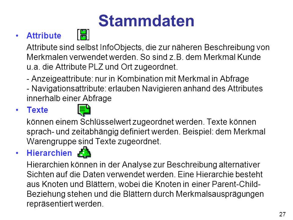 27 Attribute Attribute sind selbst InfoObjects, die zur näheren Beschreibung von Merkmalen verwendet werden. So sind z.B. dem Merkmal Kunde u.a. die A