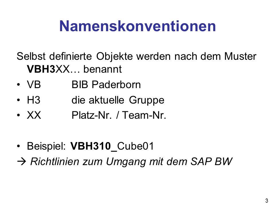 3 Namenskonventionen Selbst definierte Objekte werden nach dem Muster VBH3XX… benannt VBBIB Paderborn H3die aktuelle Gruppe XXPlatz-Nr. / Team-Nr. Bei