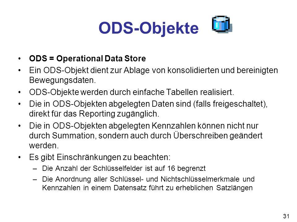 31 ODS-Objekte ODS = Operational Data Store Ein ODS-Objekt dient zur Ablage von konsolidierten und bereinigten Bewegungsdaten. ODS-Objekte werden durc