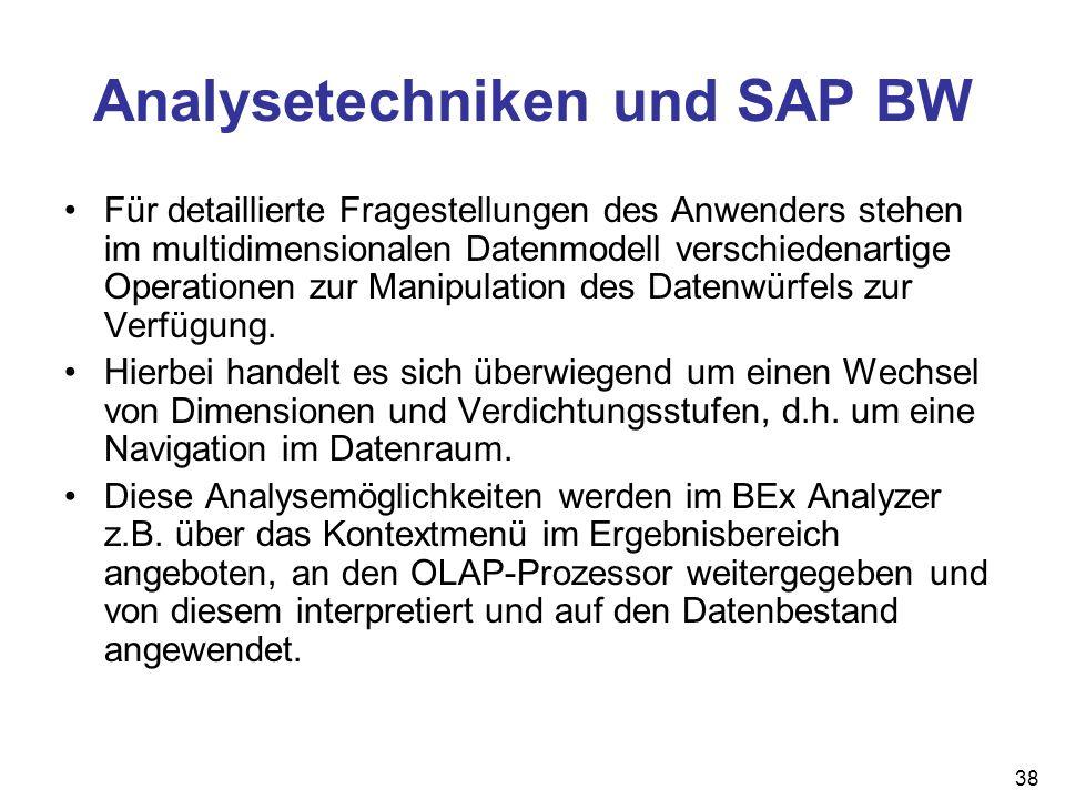 38 Analysetechniken und SAP BW Für detaillierte Fragestellungen des Anwenders stehen im multidimensionalen Datenmodell verschiedenartige Operationen z