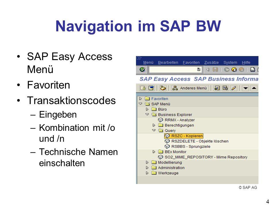 4 Navigation im SAP BW SAP Easy Access Menü Favoriten Transaktionscodes –Eingeben –Kombination mit /o und /n –Technische Namen einschalten © SAP AG
