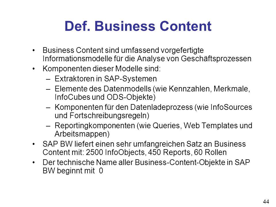 44 Def. Business Content Business Content sind umfassend vorgefertigte Informationsmodelle für die Analyse von Geschäftsprozessen Komponenten dieser M