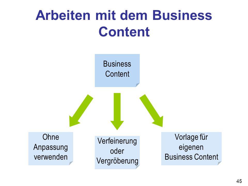 45 Arbeiten mit dem Business Content Business Content Ohne Anpassung verwenden Verfeinerung oder Vergröberung Vorlage für eigenen Business Content