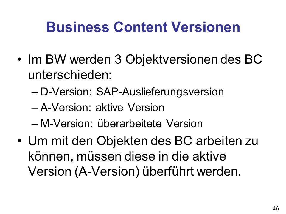 46 Business Content Versionen Im BW werden 3 Objektversionen des BC unterschieden: –D-Version: SAP-Auslieferungsversion –A-Version: aktive Version –M-