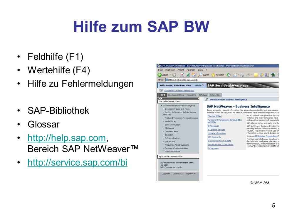 6 Werkzeuge des SAP BW Administrator Workbench (AWB) Administration des Systems BEx Analyzer Aufbereitung und Präsentation von Reports BEx Browser Verwaltung und Ausführen von Reports, Portalfunktion BEx Query Designer Definition von Reports Web Application Designer Erstellung von Web Applications