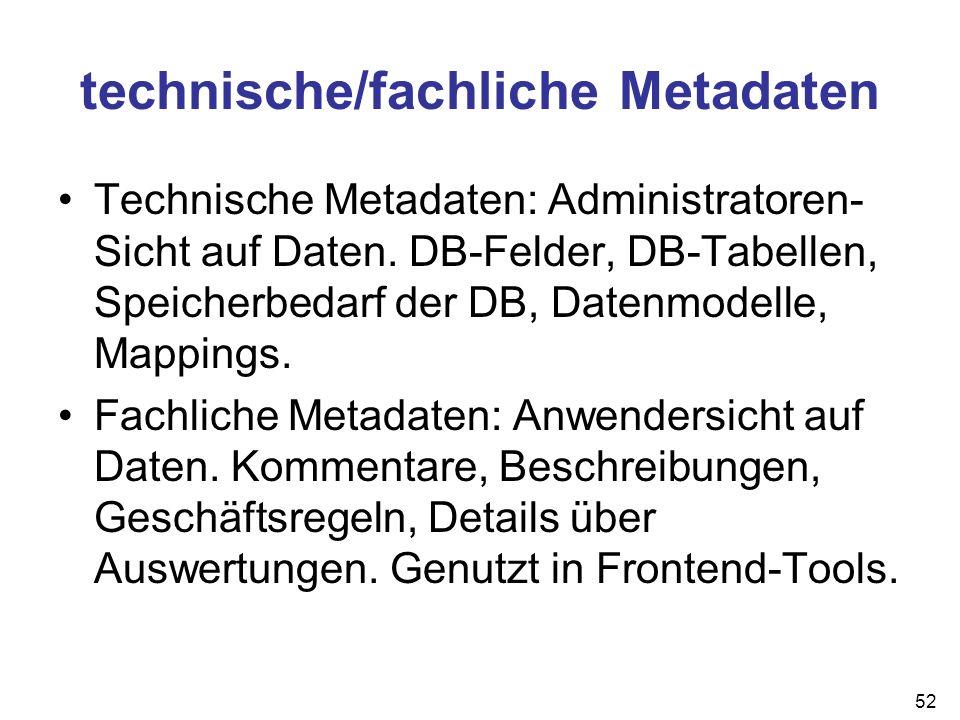 technische/fachliche Metadaten Technische Metadaten: Administratoren- Sicht auf Daten. DB-Felder, DB-Tabellen, Speicherbedarf der DB, Datenmodelle, Ma