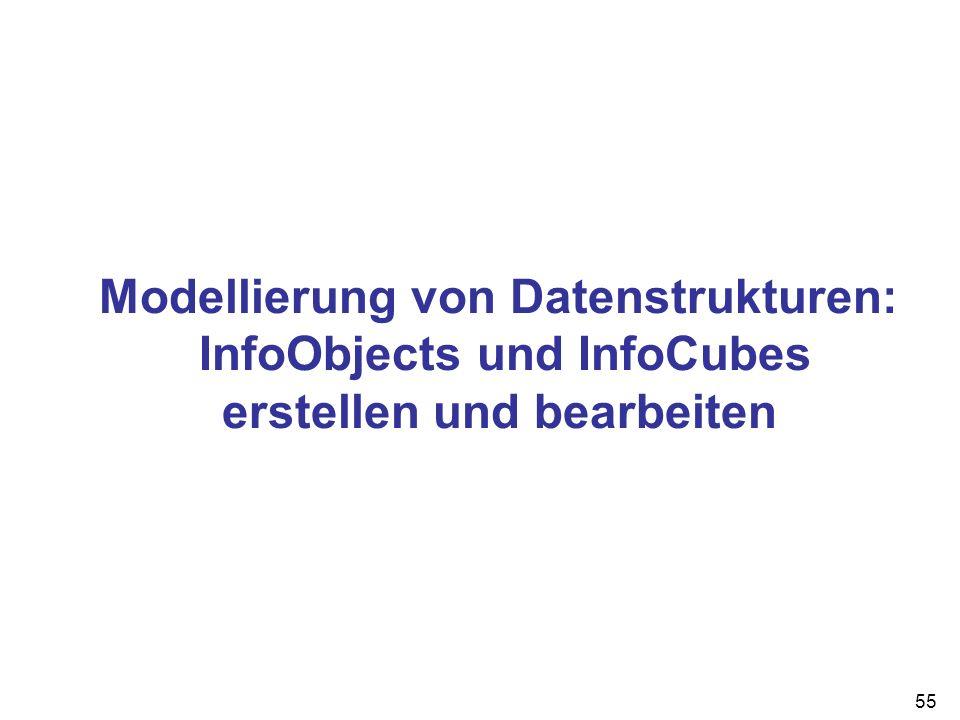 55 Modellierung von Datenstrukturen: InfoObjects und InfoCubes erstellen und bearbeiten