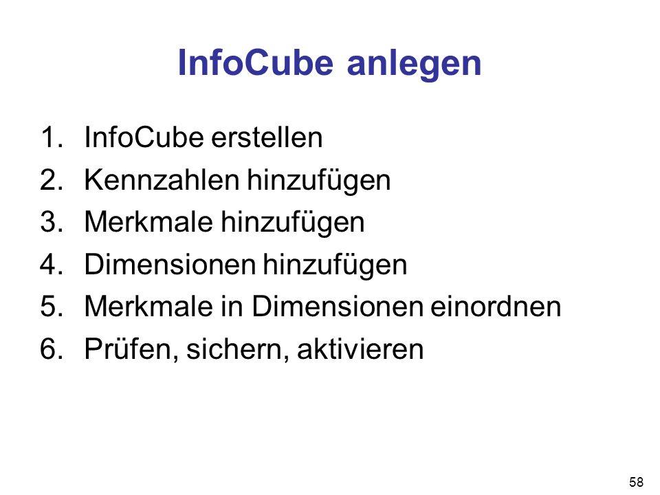 58 InfoCube anlegen 1.InfoCube erstellen 2.Kennzahlen hinzufügen 3.Merkmale hinzufügen 4.Dimensionen hinzufügen 5.Merkmale in Dimensionen einordnen 6.
