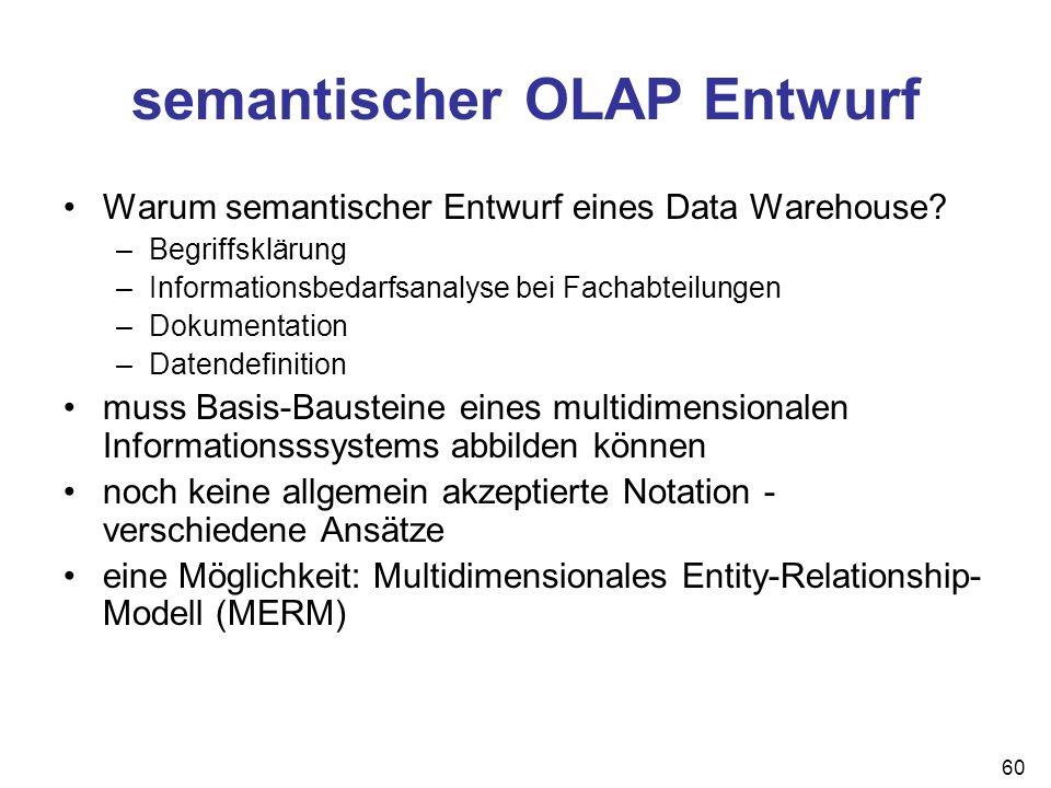 60 semantischer OLAP Entwurf Warum semantischer Entwurf eines Data Warehouse? –Begriffsklärung –Informationsbedarfsanalyse bei Fachabteilungen –Dokume