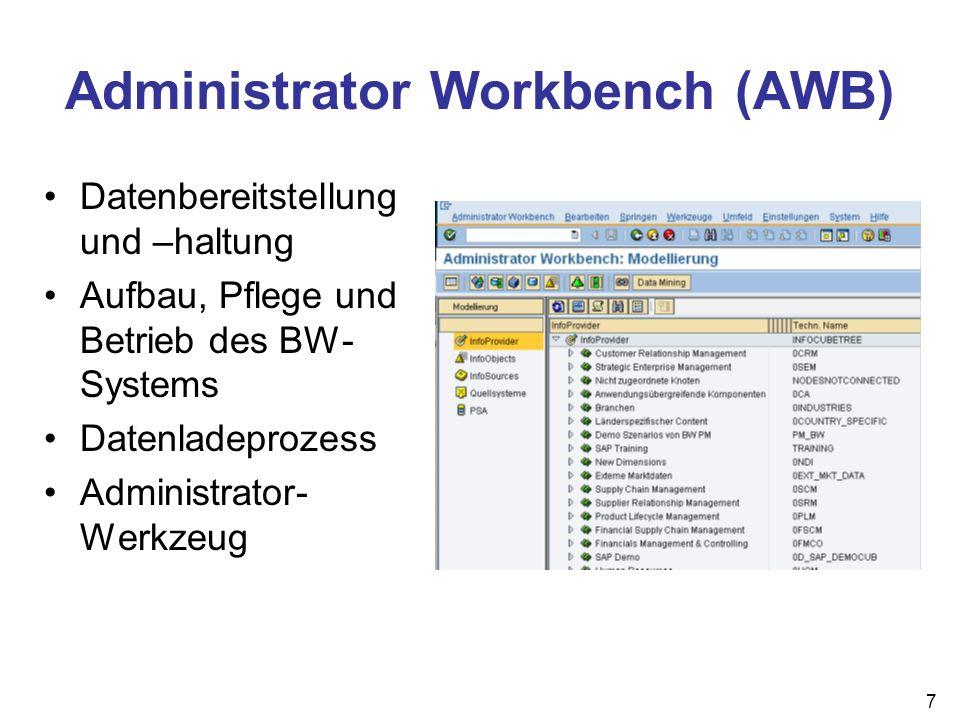 8 Business Explorer Analyzer (BEx Analyzer) Reporting- und Analysewerkzeug Definition von Reports läuft in Excel ermöglicht Web- Reports