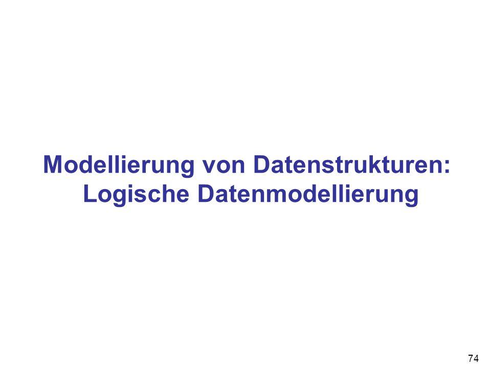 74 Modellierung von Datenstrukturen: Logische Datenmodellierung