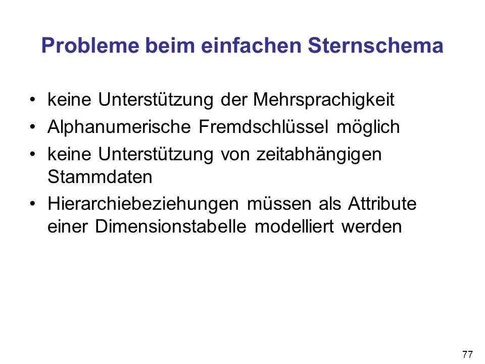 77 Probleme beim einfachen Sternschema keine Unterstützung der Mehrsprachigkeit Alphanumerische Fremdschlüssel möglich keine Unterstützung von zeitabh