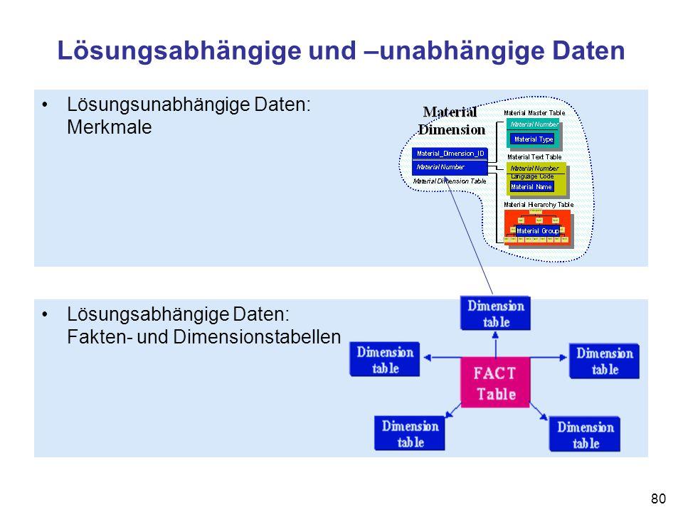 80 Lösungsabhängige und –unabhängige Daten Lösungsabhängige Daten: Fakten- und Dimensionstabellen Lösungsunabhängige Daten: Merkmale